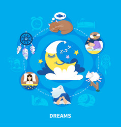 Night dreams symbols fiat composition vector