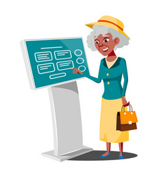 old woman using atm machine digital terminal vector image