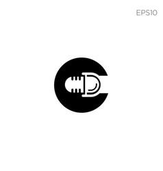 podcast music logo icon or symbol icon element vector image