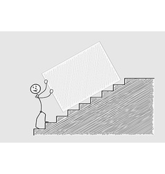 Pushing box up the stairs vector