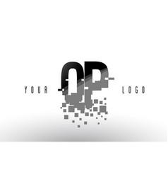 qp q p pixel letter logo with digital shattered vector image