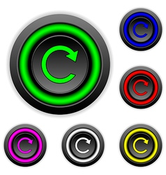 Repeat sign button set vector image