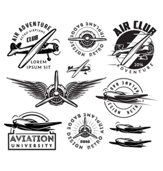 Retro pattern set of planes badges design vector