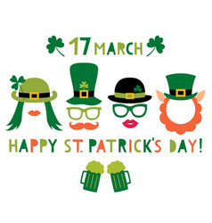 saint patricks day and party props - hats vector image