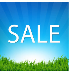 Sale poster with grass vector