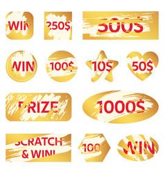 Scratch lottery card lottery win ticket golden vector