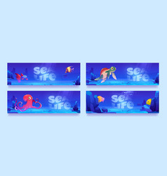 sea life posters with fish octopus and turtle vector image