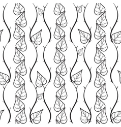 Seamless pattern with doodle leaves vector image