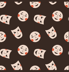 seamless pattern with theatrical masks vector image
