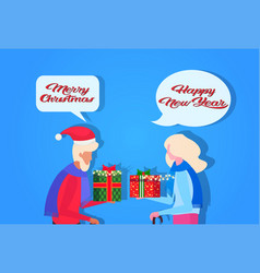 senior couple giving each other gift box happy new vector image