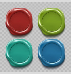 set of colored wax seal isolated on transparent vector image