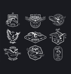 set of eagles vector image