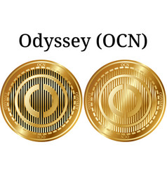 Set of physical golden coin odyssey ocn vector