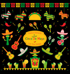 Set of traditional symbols for cinco de mayo vector