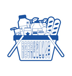 Shopping basket with foods sausage and bread vector