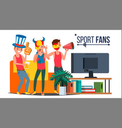 sport fans group cheering for the sport vector image