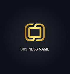 square technology gold logo vector image
