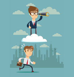 Successful businessman with telescope on cloud vector