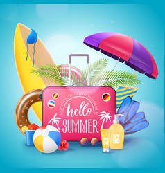 Summer beach vacation background poster vector
