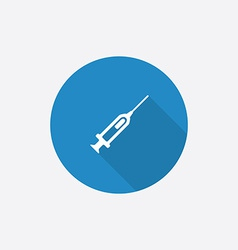 syringe flat blue simple icon with long shadow vector image