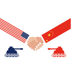 Tank facing each other shaking hands with china vector