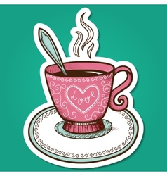 Tea or coffee cup with heart vector
