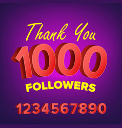 Thank you 1000 followers card web image vector