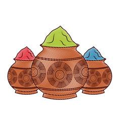 Three powder color mud pot and mandala vector