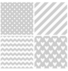 Tile pattern set with white print on grey vector