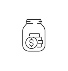 Tips jar related line icon vector