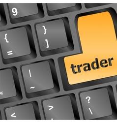 Trader keyboard representing market strategy vector