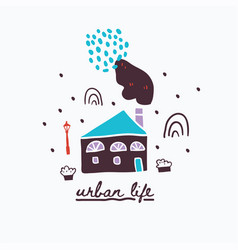 urban houses with lettering vector image