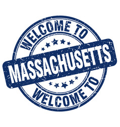 Welcome to massachusetts blue round vintage stamp vector