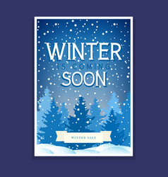 winter poster with spruces and snowflakes vector image