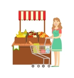 Woman Shopping For Fruits Shopping Mall And vector image