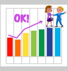 Women teamwork with good bar chart vector