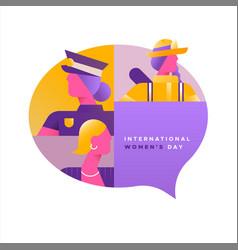 womens day card social diverse women vector image