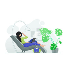 Young girl resting in chair with laptop vector