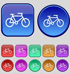 bike icon sign A set of twelve vintage buttons for vector image