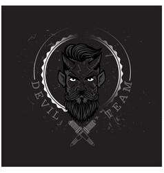 devil team devil circle frame black background vec vector image