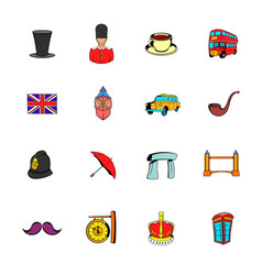 england icons set cartoon vector image vector image