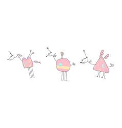 Herd of pink unicorns - doodle vector