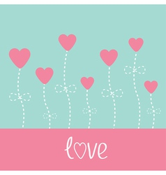 love card Heart flowers Blue and pink vector image vector image