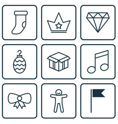 Set of 9 celebration icons includes butterfly vector