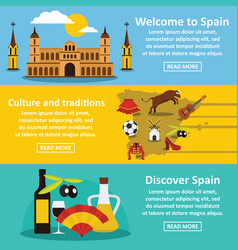 spain travel banner horizontal set flat style vector image vector image