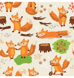 Cartoon seamless pattern with cute foxes vector image vector image