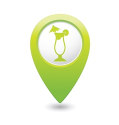 coctail icon on map pointer green vector image vector image