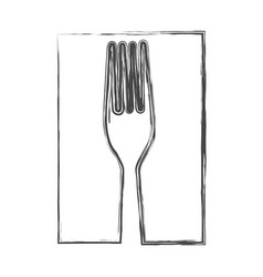 contour fork cutlery icon vector image vector image