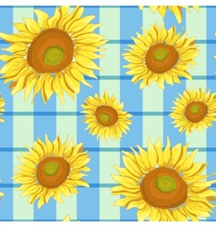 Floral seamless background with sunflowers eps10 vector image vector image