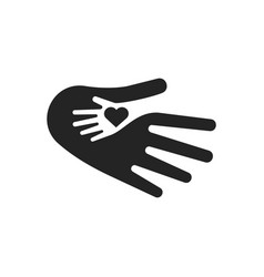 hand and heart symbol child care logo template vector image